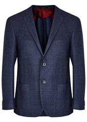 Corneliani Blue Super 120'S Wool Tweed Blazer