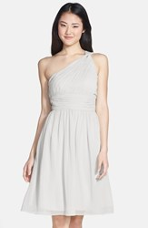 Women's Donna Morgan 'Rhea' One Shoulder Chiffon Dress Dove Grey