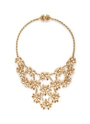 Miriam Haskell Glass Pearl Floral Bib Necklace Metallic