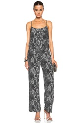 Haute Hippie Sexy Strap Back Jumpsuit In Black Animal Print