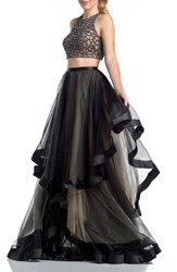Women's Glamour By Terani Couture Beaded Top And Organza Two Piece Ballgown Black Nude