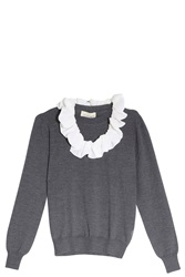 Merchant Archive Merino Sweater With Collar Grey
