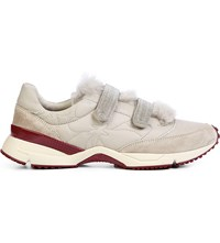 Brunello Cucinelli Embroidered Leather And Shearling Trainers Stone