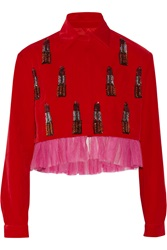 House Of Holland Sequin Embellished Velvet Jacket Red