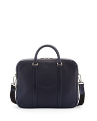 Zip Top Leather Briefcase Navy Bally