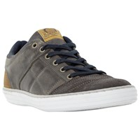 Dune Temper Leather Trainers Grey