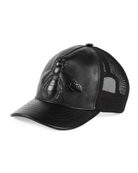 Gucci Bee Embossed Leather Baseball Hat Black