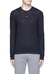 James Perse Cotton Cashmere Thermal Henley T Shirt Blue