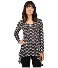 Karen Kane Long Sleeve Handkerchief Top Print 3 Women's T Shirt Gray