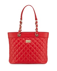 St. John Quilted Leather Shoulder Tote Bag Red