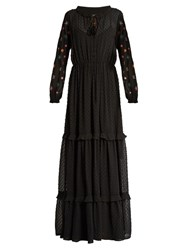 Saloni Alexia Dobby Embroidered Georgette Dress Black