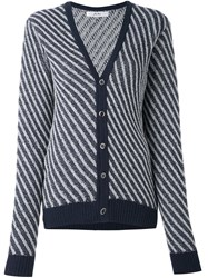 Julien David Striped Cardigan Blue