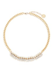 Anton Heunis Glass Pearl Swarovski Crystal Curb Chain Necklace Metallic