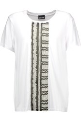 Just Cavalli Printed Georgette And Stretch Jersey T Shirt White