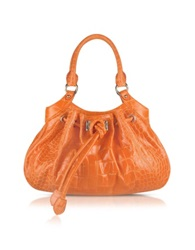 Buti Orange Croco Stamped Leather Drawstring Satchel Bag