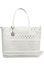 Dkny Laser Cut Leather And Canvas Tote White