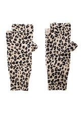 Autumn Cashmere Leopard Print Fingerless Gloves Gray