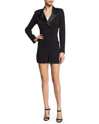 Nicole Miller Artelier Long Sleeve Double Breasted Tuxedo Short Romper Black