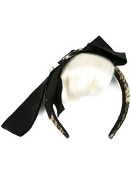 Dolce And Gabbana Hair Fringe Bow Headband Black