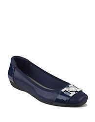 Anne Klein Unalike Square Toe Ballet Flats Navy Blue