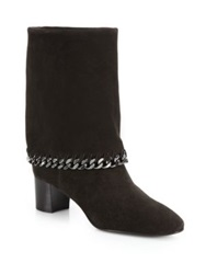 Casadei Chained Suede Foldover Boots Ash