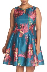 Gabby Skye Plus Size Women's Keyhole Detail Floral Shantung Fit And Flare Dress Dark Peacock Fuchsia