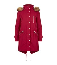 Maje Garker Fur Trim Parka Female Red