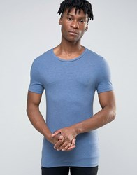 Asos Extreme Muscle T Shirt With Crew Neck True Navy Blue