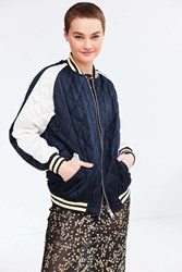 Silence And Noise Quilted Satin Varsity Bomber Jacket Blue