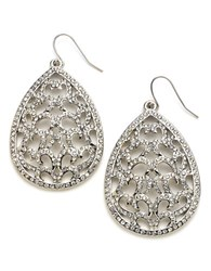 Abs By Allen Schwartz Crystal Encrusted Filigree Teardrop Earrings Silver
