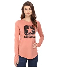 Converse Star Print Long Sleeve Tee Pink Blush Women's T Shirt
