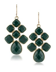 1St And Gorgeous Cabachon Chandelier Earrings In Green Gold