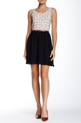 Doe And Rae Belted Owl Print Dress Black