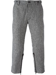 Ktz Cropped Houndstooth Trousers Black