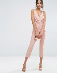 Asos Cami Wrap Jumpsuit With Peg Leg Nude Pink