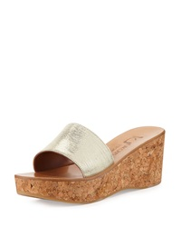 K. Jacques Kirelle Metallic Wedge Sandal Ray Gold