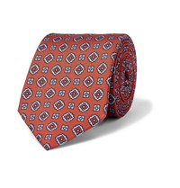 Dunhill Printed Mulberry Silk Tie Orange