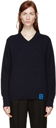 Raf Simons Navy Lambswool Sweater