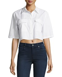Equipment Signature Cropped Half Sleeve Blouse Bright White