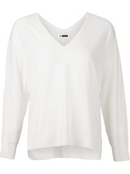 H Beauty And Youth. V Neck Pullover Jumper White