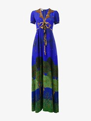 Gucci Midnight Garden Silk Maxi Dress Green Blue Blue Green Silver