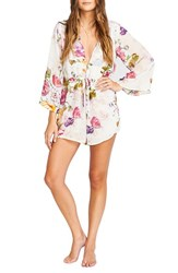 Show Me Your Mumu Women's 'Roxy' Plunging Tie Waist Romper Best Friend Floral