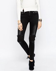Noisy May Lucy Super Skinny Fit Studded Jeans 32 B 24 Black