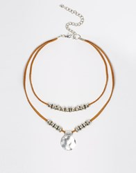 Asos Western Leather Cord Disc Choker Necklace Brown