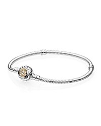 Pandora Design Bracelet Signature Sterling Silver 14K Gold And Cubic Zirconia Moments Collection