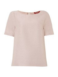Max Mara Aria Short Sleeved Crew Neck Jacquard Top Pink