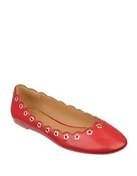 Nine West Mint Chip Grommet Flats Red