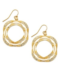 Sis By Simone I Smith 18K Gold Over Sterling Silver Earrings Crystal Accent Layered Drop Earrings