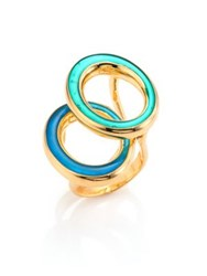 Maiyet Orbit Resin And Mother Of Pearl Oval Ring Gold Aqua