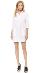 Alexander Wang Cotton Poplin Long Sleeve Shirtdress White